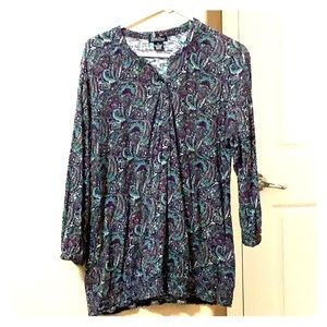 Lucky Brand, Tunic top, xl, Cotton, beautiful!
